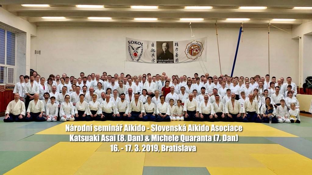National aikido seminar of Slovak Aikido Association/ Aikikai Slovakia, 16.-17.3.2019, Bratislava (SK) - sensei Asai Katsuaki 8. Dan Aikikai, Shihan/ sensei Michele Quaranta 7. Dan